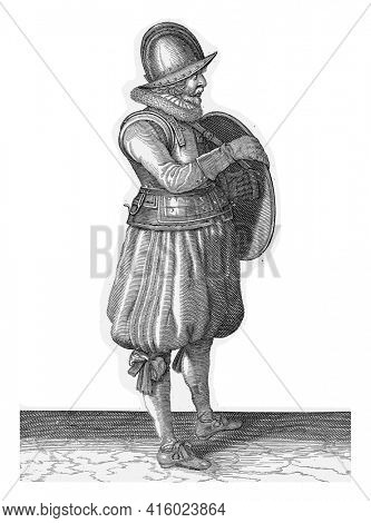 The exercise with shield and spear: the soldier pulls his arm out of the belt of the shield shield, vintage engraving.