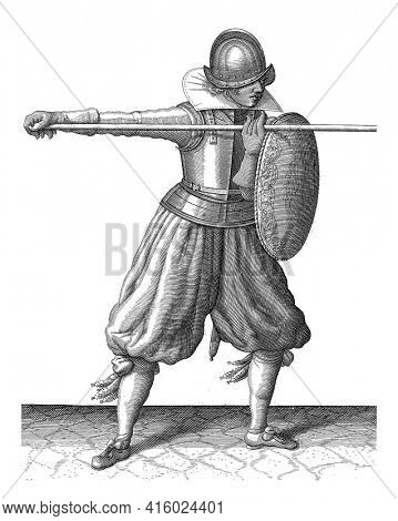 The exercise with shield and spear: the soldier brings in three times the spear in the correct position, third movement with the spear straight ahead, vintage engraving.
