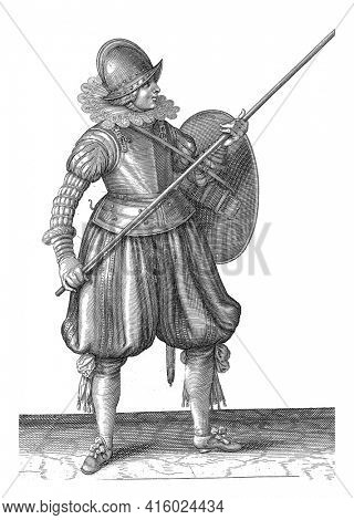 The exercise with shield and spear: the soldier brings the spear in three times in the correct position, second movement, vintage engraving.