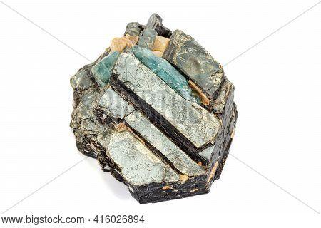 Macro Aquamarine Mineral Stone In Rock On White Background
