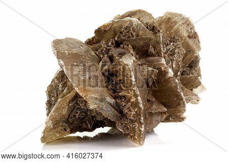 Macro Stone Gypsum Mineral On White Background