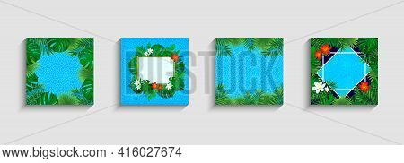 Tropic Cards Vector Collection. Tropical Frames With Oceanic Texture, Rainforest Plants, Exotic Flow