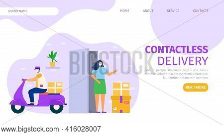 Contactless Delivery At Quarantine Concept, Web Page, Vector Illustration. Man Courier Character Bri