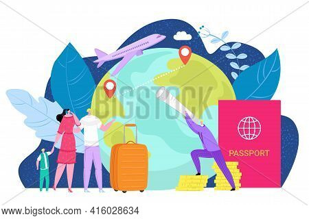 International Emigration Concept, Vector Illustration. People Character Immigration To Foreign Count
