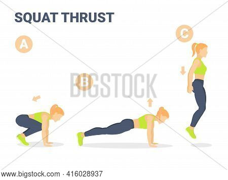 Squat Thrust Exercise Girl Home Workout Guidance.
