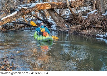 senior male is paddling an inflatable whitewater kayak at river log jam  - Poudre River in Fort Collins, Colorado, winter or early spring scenery