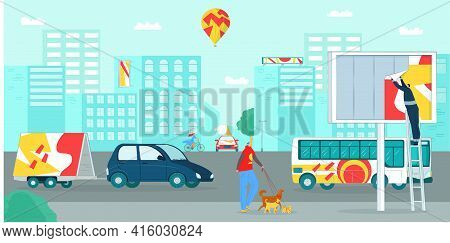 City Street With Billboard, Advertising Blank Design, Vector Illustration. Poster At Urban Banner Bo