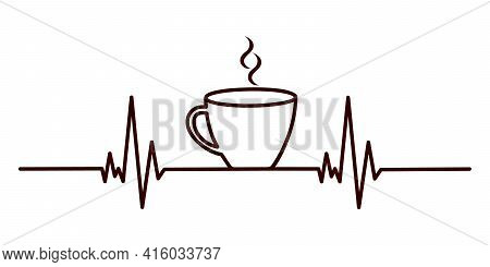 Coffee Heartbeat Concept. Cardiogram Line And Cup Of Espresso, Tea Or Hot Chocolate With Aroma Smoke