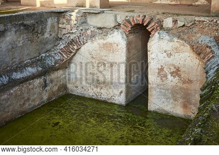 Archaeological Remains Of A Water Storage System From Roman Times In Spain (merida).