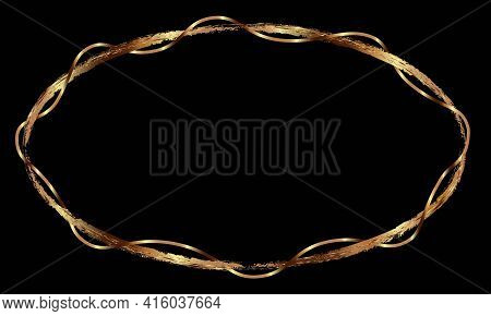Ornate Oval Gold Frame On A Black Background. Drawn Textured Borders With Gold Or Copper Effect. Vec
