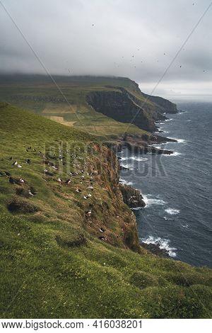 Beautiful Mykines Island With Green Grass Landscapes And Atlantic Ocean. Mykines Island, Faroe Islan