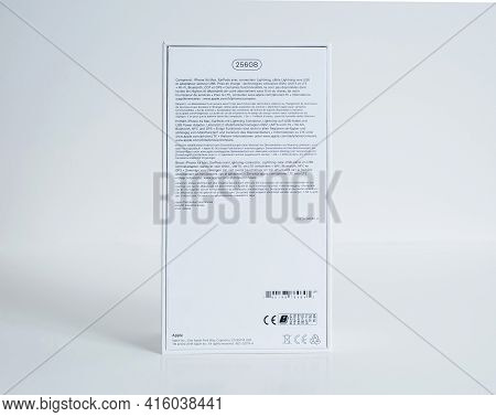 Paris, France - Sep 25, 2018: Side View Of New Cardboard Package Of Latest Apple Computers Iphone Xs