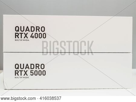 Paris, France - Mar 28, 2019: New Packaging Of Two New Gpu Nvidia Quadro Rtx 4000 And Rtx 5000 Based