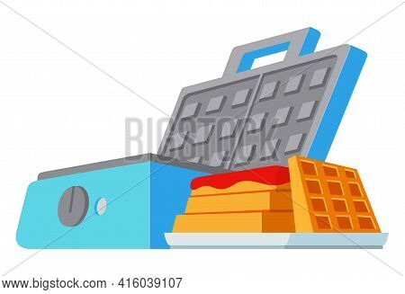 Waffle Maker Machine. Waffles Being Baked. Isolated On A White Background.