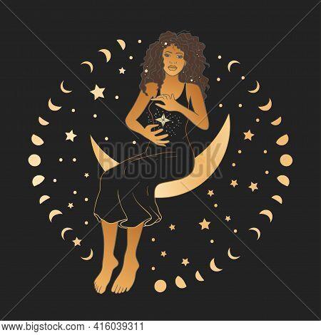 Celestial African American Woman Sacred Astrology Feminine Boho Esoteric Golden And Black Black Card