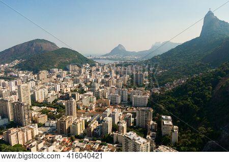 Aerial View Of Botafogo Neighborhood And Corcovado Mountain In Rio De Janeiro, Brazil