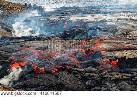 Magma In Fagradalsfjall Volcanic Eruption In Reykjanes Peninsula Around 40 Kilometres From Reykjavik