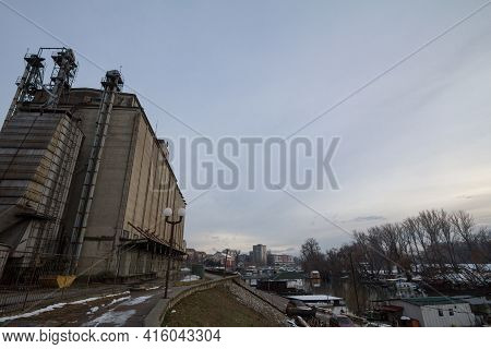 Panorama Of The Tamis River, On Pancevo Waterfront In The Center Of The City, During A Cold Winter S