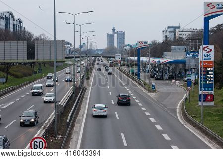 Belgrade, Serbia - March 20, 2021: Cars Passing By On The Motorway Going Through Belgrade, Novi Beog