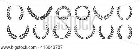 Laurel Wreath And Olive Crown, Award Symbols, Branch And Leaves, Winner Emblem, Black Heraldry Roman