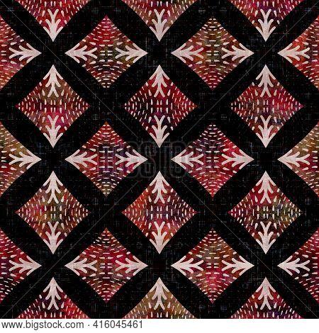 Seamless Dark Check Mosaic Block Print Background. Boho Ethnic Soft Furnishing Fabric Style. Tie Dye