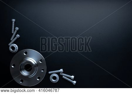 Car Service Tools. Set Of New Metal Car Part. Auto Motor Mechanic Spare Or Automotive Piece Isolated