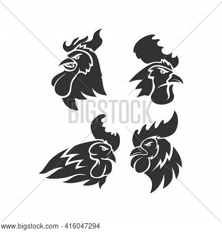 Chicken Rooster Head Mascot Animal Template Silhouette Set