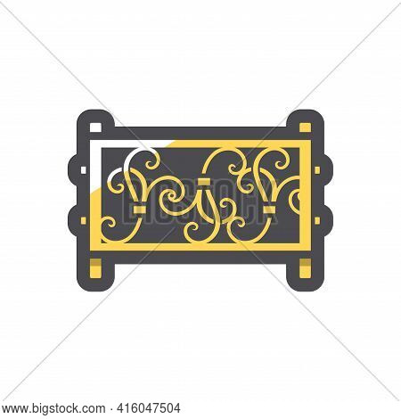 Steel Fence Forged Metal Element With Ornament Vector Icon Cartoon Illustration