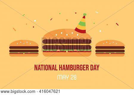National Hamburger Day Vector Cartoon Style Greeting Card, Illustration With Tasty Hamburgers In Par