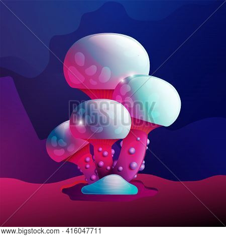 Colorful Fantasy Magic Mushroom Vector Design. Unrealistic Uneartly Botany With Mycelium And Several