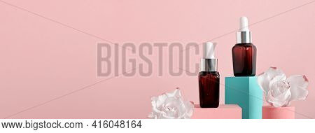 Banner With Beauty Natural Skincare Product Mock Up. Serum Or Collagen Dropper Bottles On Geometric