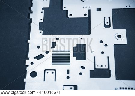 The Sample Of Sheet Metal Product    From Laser Cutting Process. The Sample Part Of Power Supply Cha