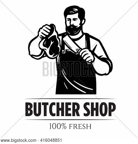 Male Butcher Holds Meat Bacon In His Hand. Vector Illustration Isolated On White Background