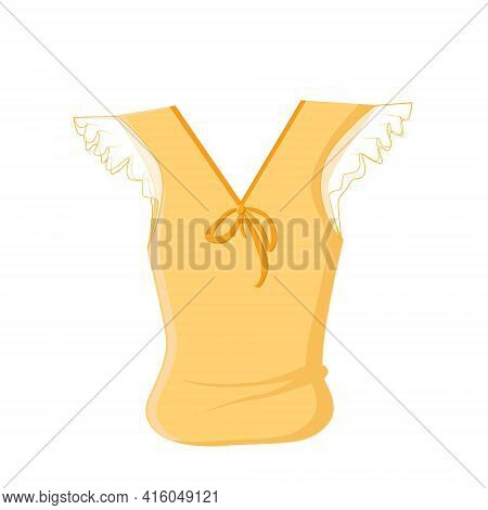 Light Orange Summer Blouse With Airy Short Sleeves And A Bow On A White Background. Summer Clothes.