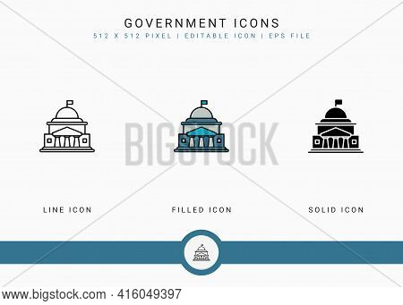Government Icons Set Vector Illustration With Solid Icon Line Style. Politics Public Election Concep
