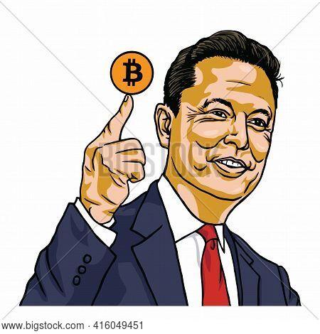 Elon Musk Holding Bitcoin Vector Cartoon Portrait Illustration. Los Angeles, March 31, 2021