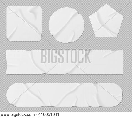White Paper Stickers, Adhesive Patches And Tapes. Blank Crumpled Labels Different Shapes Isolated On