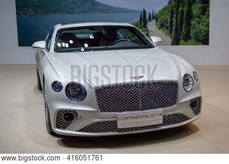Bangkok, Thailand - April 4, 2021: Luxury Car Bentley Continental Gt V8 Exhibited In Bangkok Interna