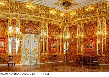 Saint-Petersburg, Russia - March 25 2021: Interior Amber Room, Catherine palace. The former imperial palace. Building is laid in 1717 on orders of Catherine. Tsarskoye Selo, Pushkin