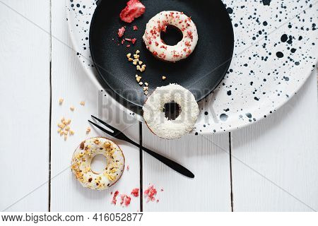 Keto Donuts With Glaze And Sprinkles Of Sublimated Strawberry. Low Carb Ketogenic Meal. Sugarless Do