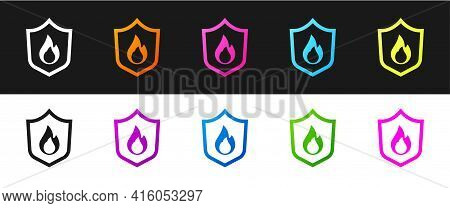 Set Fire Protection Shield Icon Isolated On Black And White Background. Insurance Concept. Security,