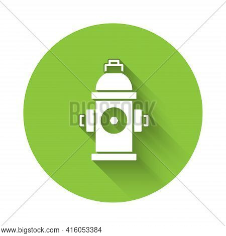 White Fire Hydrant Icon Isolated With Long Shadow. Green Circle Button. Vector