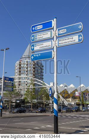 Rotterdam, Netherlands - July 03, 2018: Road Sign On The Street Of Rotterdam