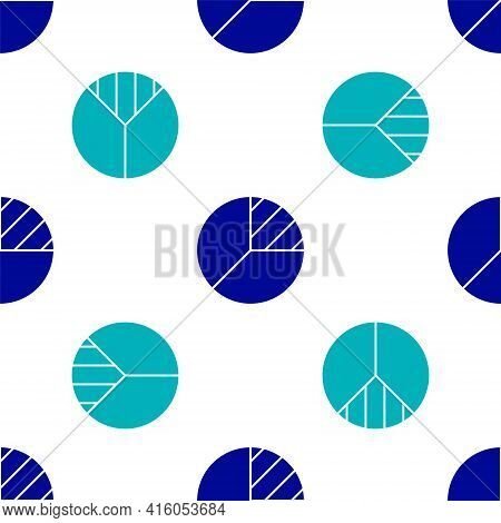 Blue Pie Chart Infographic Icon Isolated Seamless Pattern On White Background. Diagram Chart Sign. V