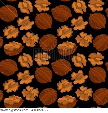 Walnuts Seamless Pattern. Nuts In Shell And Kernels.