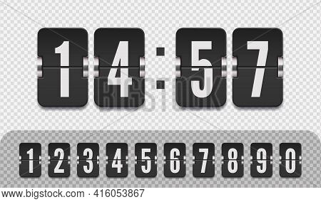 Flip Countdown Number On Transparent Vector Illustration Template. Scoreboard Number Font. Vintage C