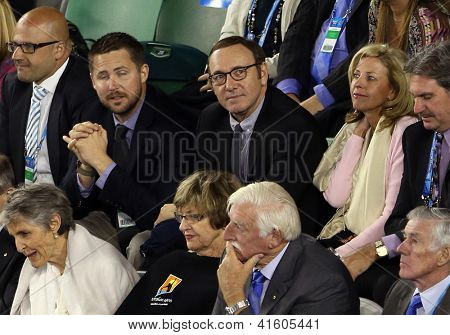 MELBOURNE, VC - JANUARY 25: Actor Kevin Spacey in the crowd during the Australian Open match at Rod Laver Arena on January 25th 2013 in Melbourne.