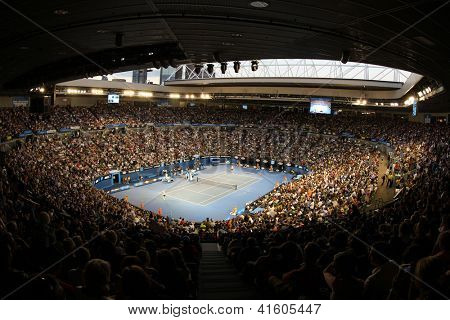 MELBOURNE,  VC - JANUARY 23: A General view of the interior of Rod Laver Arena during the 2013 Australian Open on January 23rd 2013 in Melbourne.