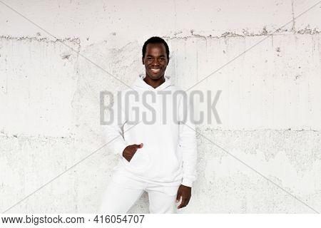 White trendy hoodie street style menswear fashion shoot