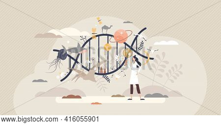 Dna Science And Evolution Research As Genetic Data Study Tiny Person Concept